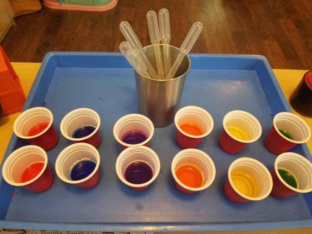 Experiment With Mixing Colors Set Out A Rainbow Of Liquid
