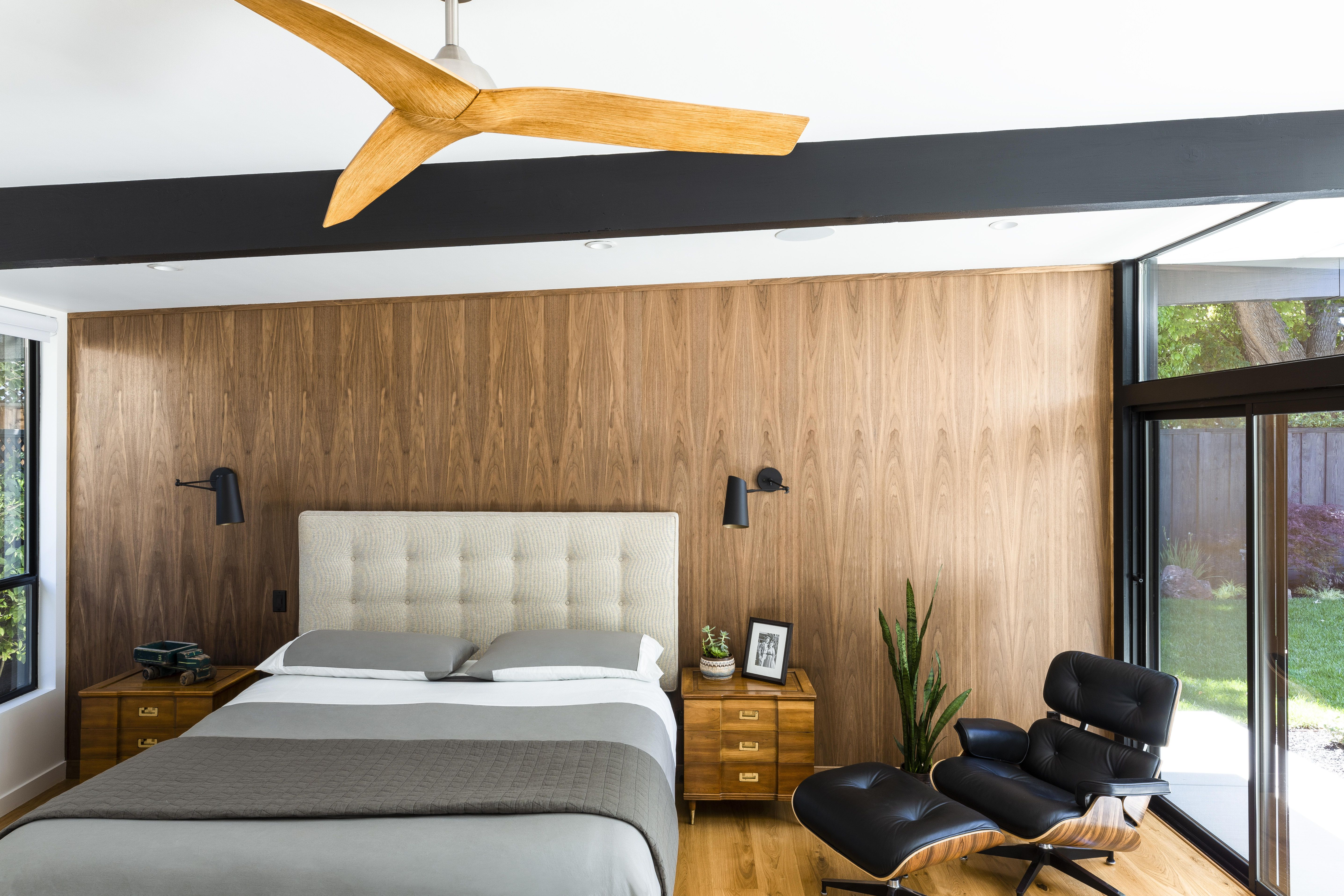 Mid Century Modern California Home Tour Wood Paneling And Tiling Mid Century Bedroom Design Mid Century Modern Bedroom Modern Bedroom