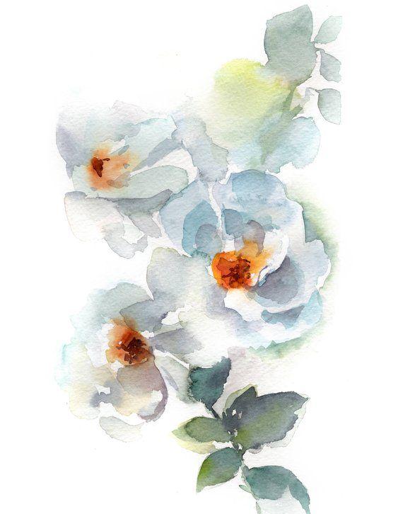 White Flowers Art Print Flowers Watercolor Painting Print Floral