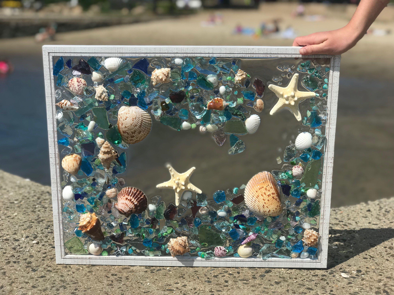 Free shipping large beach glass coastal windowmixed