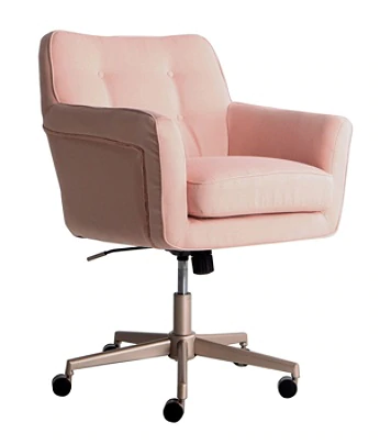 Serta Ashland Home Mid Back Office Chair Twill Fabric Blush Pinkchrome Office Depot In 2020 Pink Office Chair Home Office Furniture Upholstered Office Chair