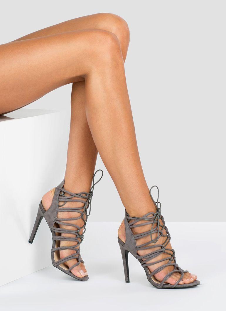 Szare Sandalki Wiazane Shane W Deezee Pl Heels High Heels Fashion