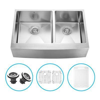 shop vigo bingham double bowl farmhouse kitchen sink at on farmhouse sink lowest price id=73964