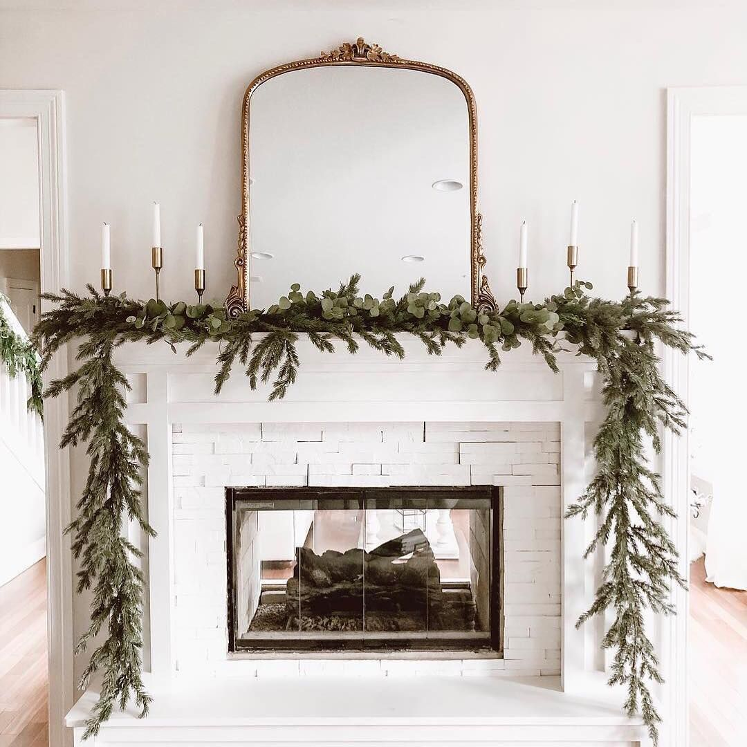 "Photo of @hayneedle on Instagram: ""Deck the home ✨Tap image to get details on this greenery on @mrswoodtomotherhood's mantle. #hayneedlehome"""