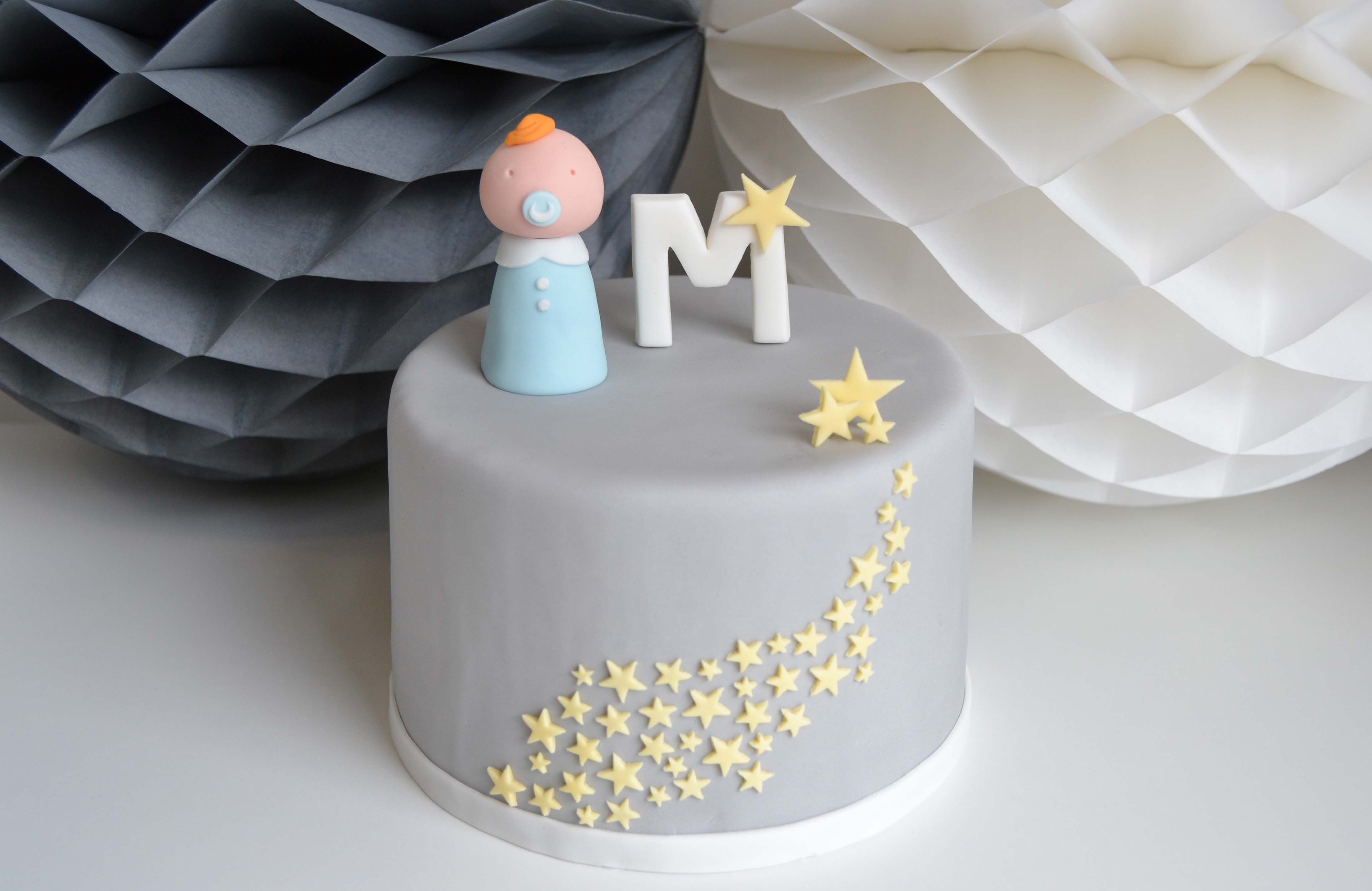new born boy cake #stars #baby by mysweetdear.com