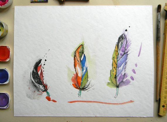 Original Feather Watercolor In Red Blue Purple Aquarelle Fine Art