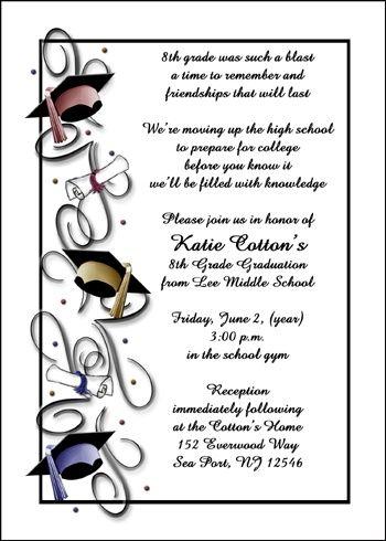 8th Grade Caps Graduate Announcements Graduation Pinterest - graduation invitation template