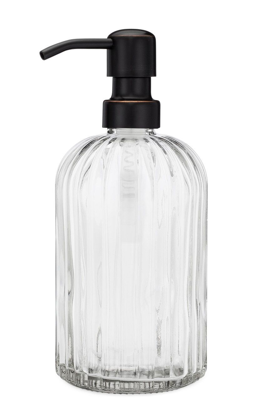 Fluted Glass Nouveau Soap Dispenser Bathroom Soap Dispenser Soap Dispenser Glass Soap Dispenser