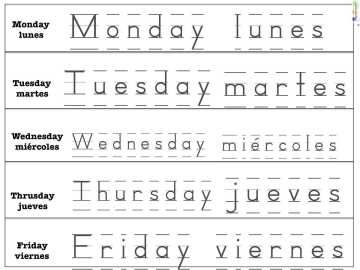 Days Of The Week In Spanish Bilingualism Pinterest Spanish