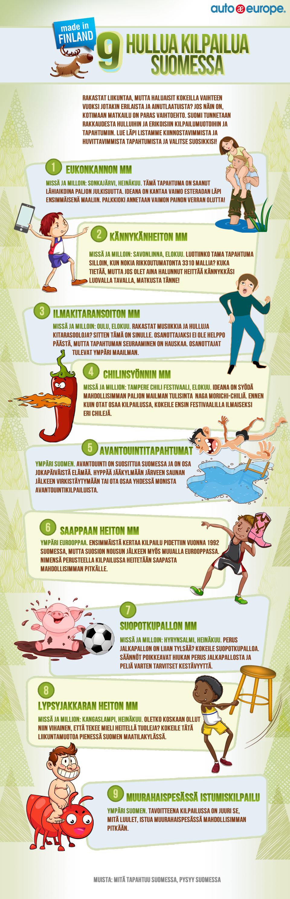 Infografiikka: 9 hullua kilpailua Suomessa - Muut infografiikkamme löydät täältä: http://www.autoeurope.fi/go/infographics/