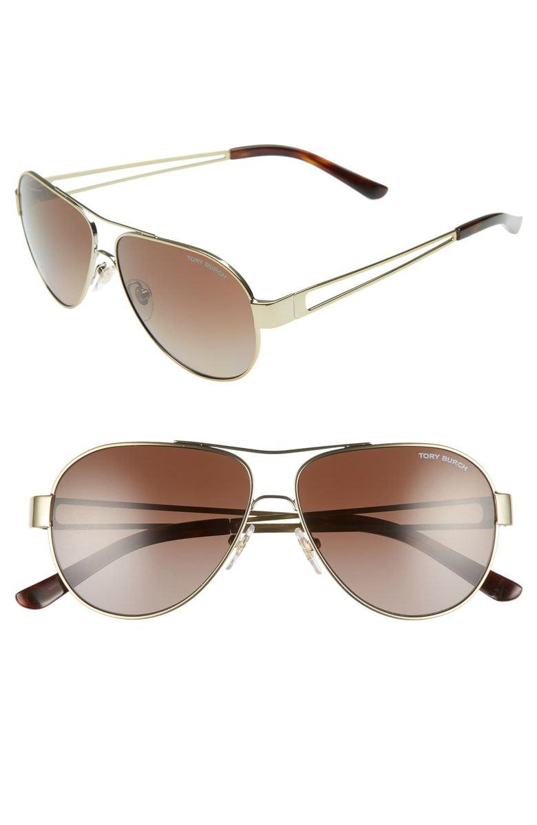 84b5b710f4 Free shipping and returns on Tory Burch 55mm Polarized Aviator Sunglasses  at Nordstrom.com. Cutout temples and glare-reducing polarized lenses detail  this ...