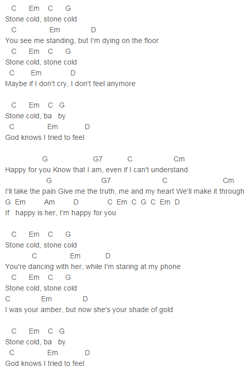 Confident Demi Lovato Stone Cold Chords Lyrics For Guitar Ukulele