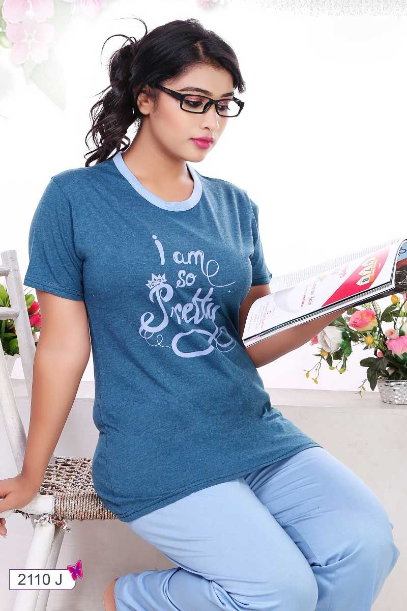 dfcc0a0a4b Blue-Letter-Print-Cotton-Sinker-Short-Sleeve-Round-Neck-Girls-Night ...