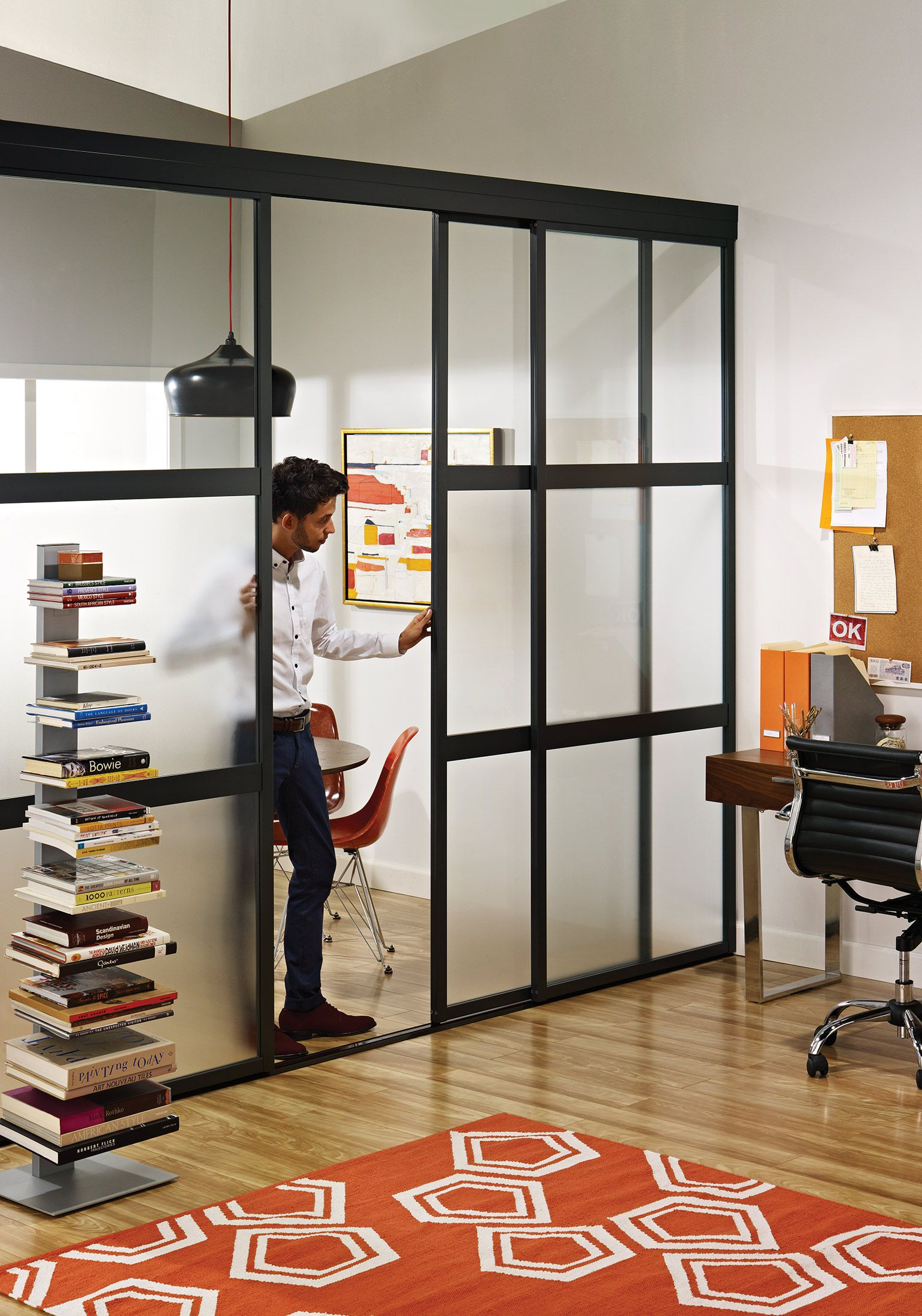 sliding glass room dividers in home office | the sliding door co