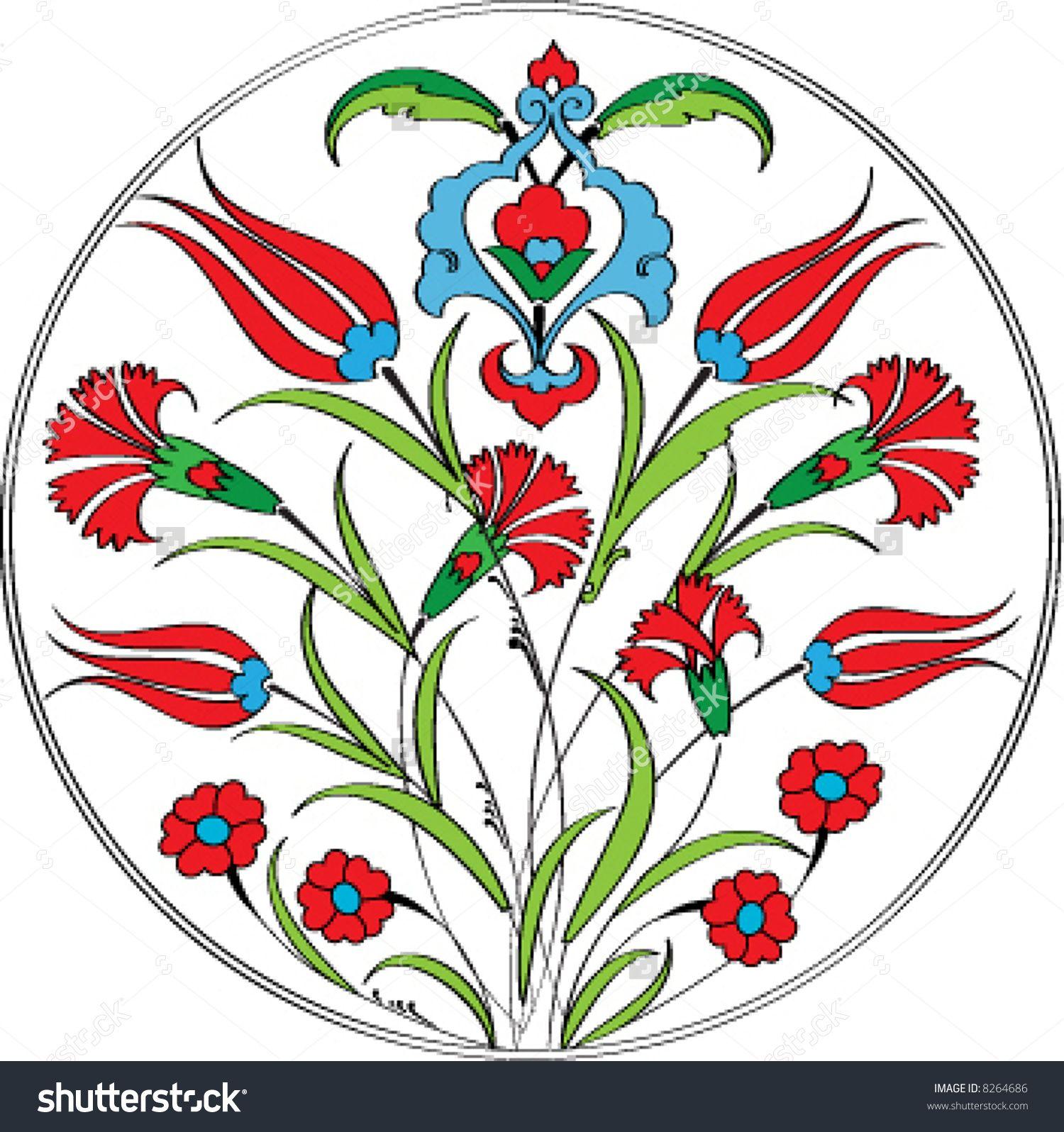 Traditional Turkish Ottoman Red Flower Home Decor Mosaic: Ottoman Tulip Stock Vectors & Vector Clip Art