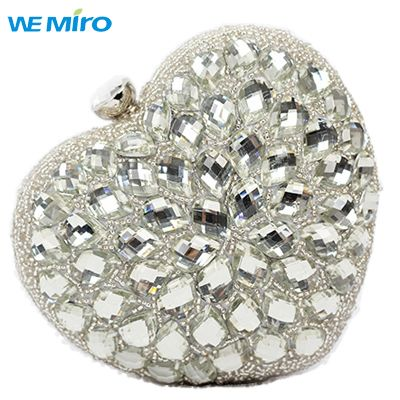 Lady Clutches And Evening Bags Lovely Glitter Silver Clutch Women Wedding Dinner Bag Beaded Unique Heart