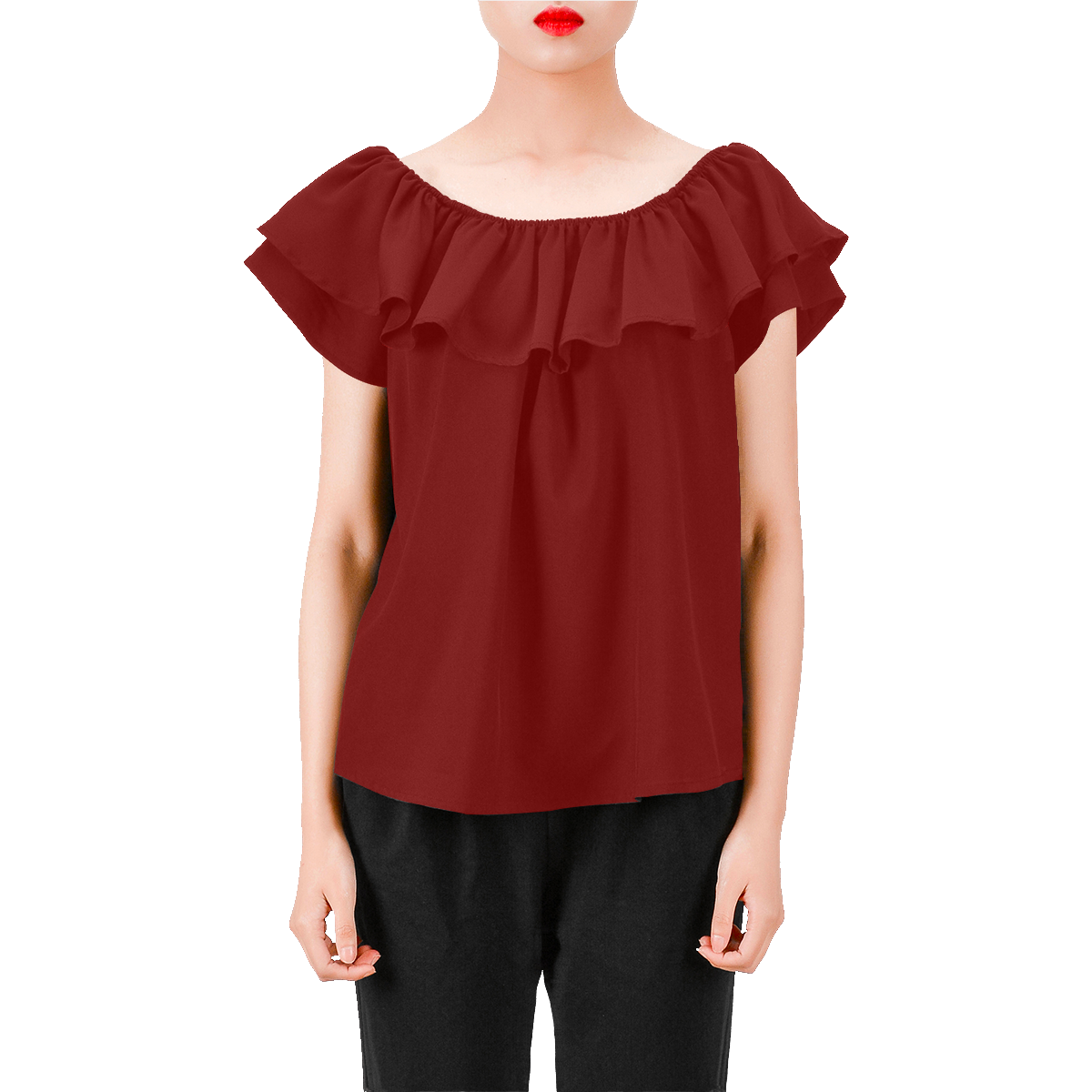 2dc47151bb Cherry Red Women's Off Shoulder Blouse with Ruffle (Model T29) in ...