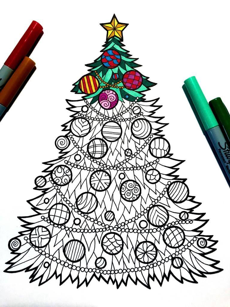 Christmas Tree PDF Zentangle Coloring Page Christmas