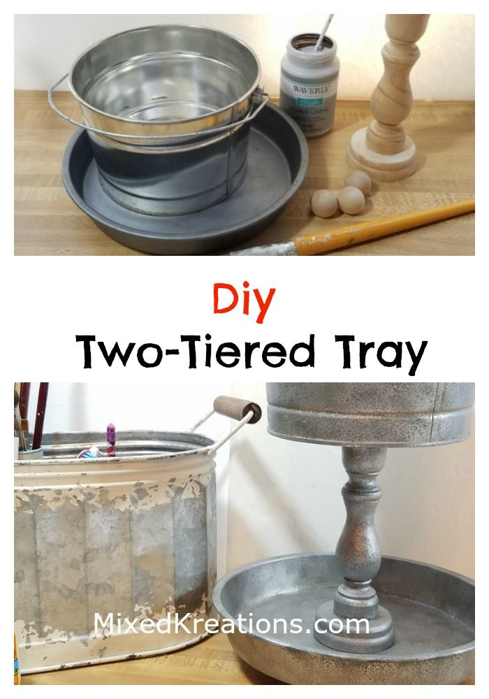 How To Make A Two Tier Faux Galvanized Tray With Images Metal Tray Decor Diy Tray Galvanized Tray