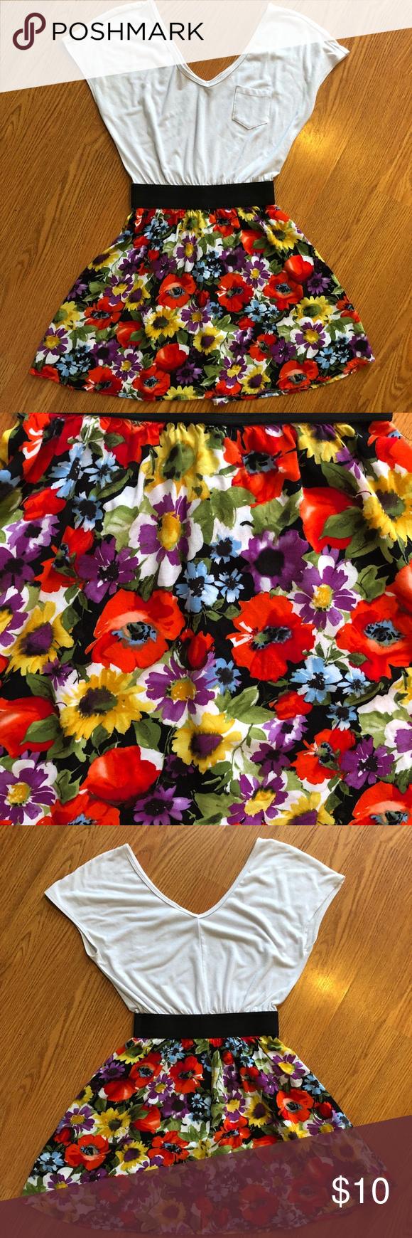 Floral mini dress elastic waist mini dresses and floral