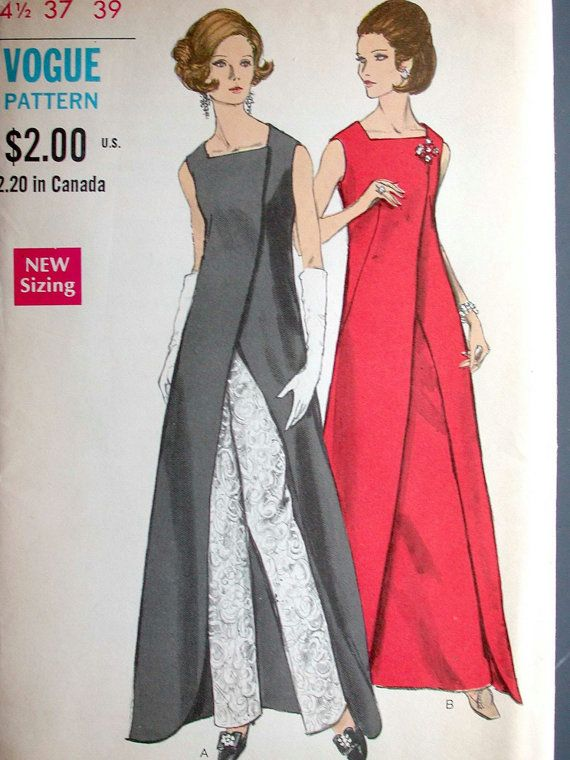 Vogue Dress Pattern No 7672 UNCUT Vintage 1960s Size 14 1/2 Bust 37 ...