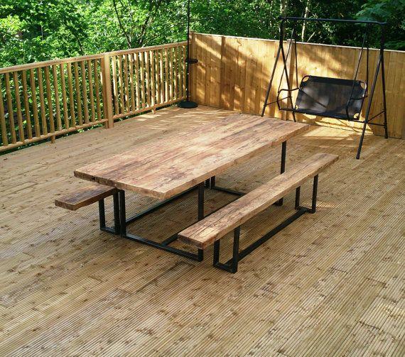 Reclaimed Industrial Chic Custom Outdoor Garden Table - Bar ...