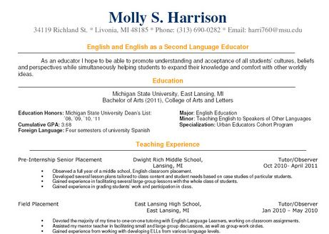 sample teacher resume - Google Search resumes Pinterest Teacher - esl teacher sample resume