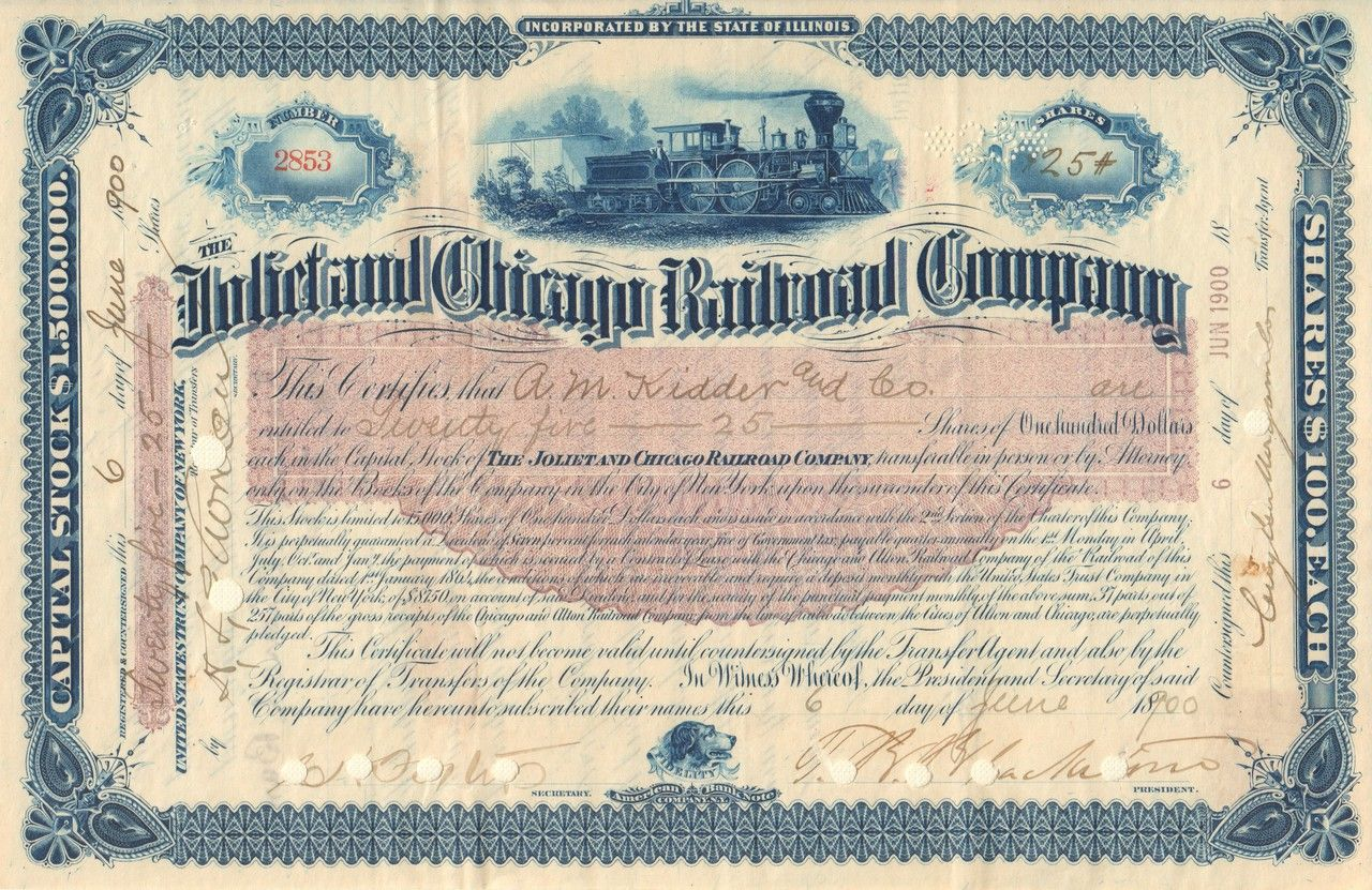 Color printing joliet - Joliet And Chicago Railroad Company Stock Certificate 1900 Illinois The Line Was Leased To The Chicago And Alton Railroad Great Color Combination Making