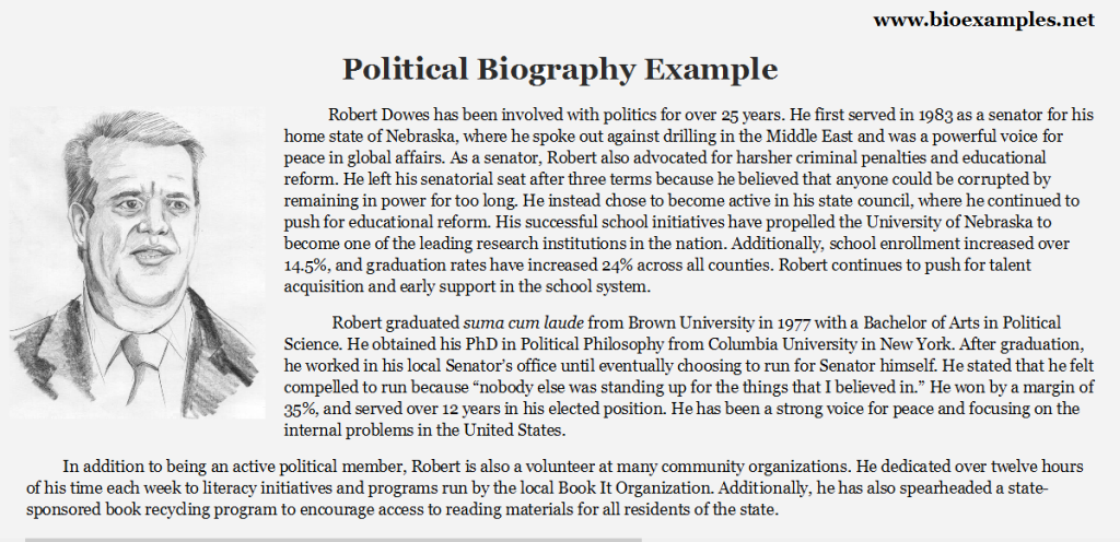 Political Biography Example Best Biographies, Sample Resume, Politics, Writing, Education, Biography