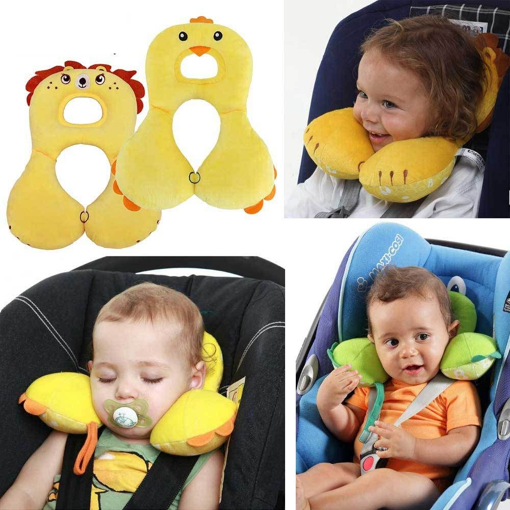 Soft Baby Safety U-shaped Pillow With Protective Cover Car Seat Stroller Pillow Cartoon Short Plush Infant Head Neck Support Mother & Kids