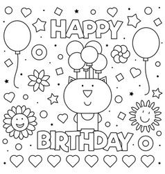 coloring page vector image on vectorstock  happy birthday