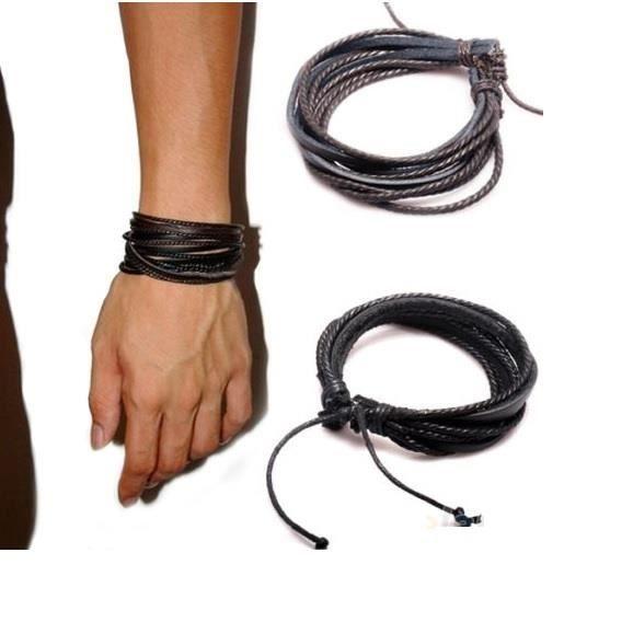 Bracelet Simili Cuir Tressé Pour Ado Fille Garçon Homme Femme Ajustable Mode