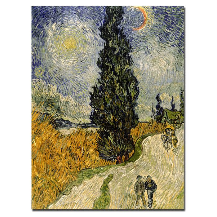 """Trademark Art """"Road with Cypresses, 1890"""" by Vincent van Gogh Painting Print on Canvas & Reviews   Wayfair"""