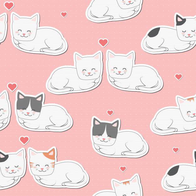 Cute Adorable Cat Lovers Cartoon Seamless Pattern On Pink Wallpaper Cat Wallpaper Cartoon Cute Cats