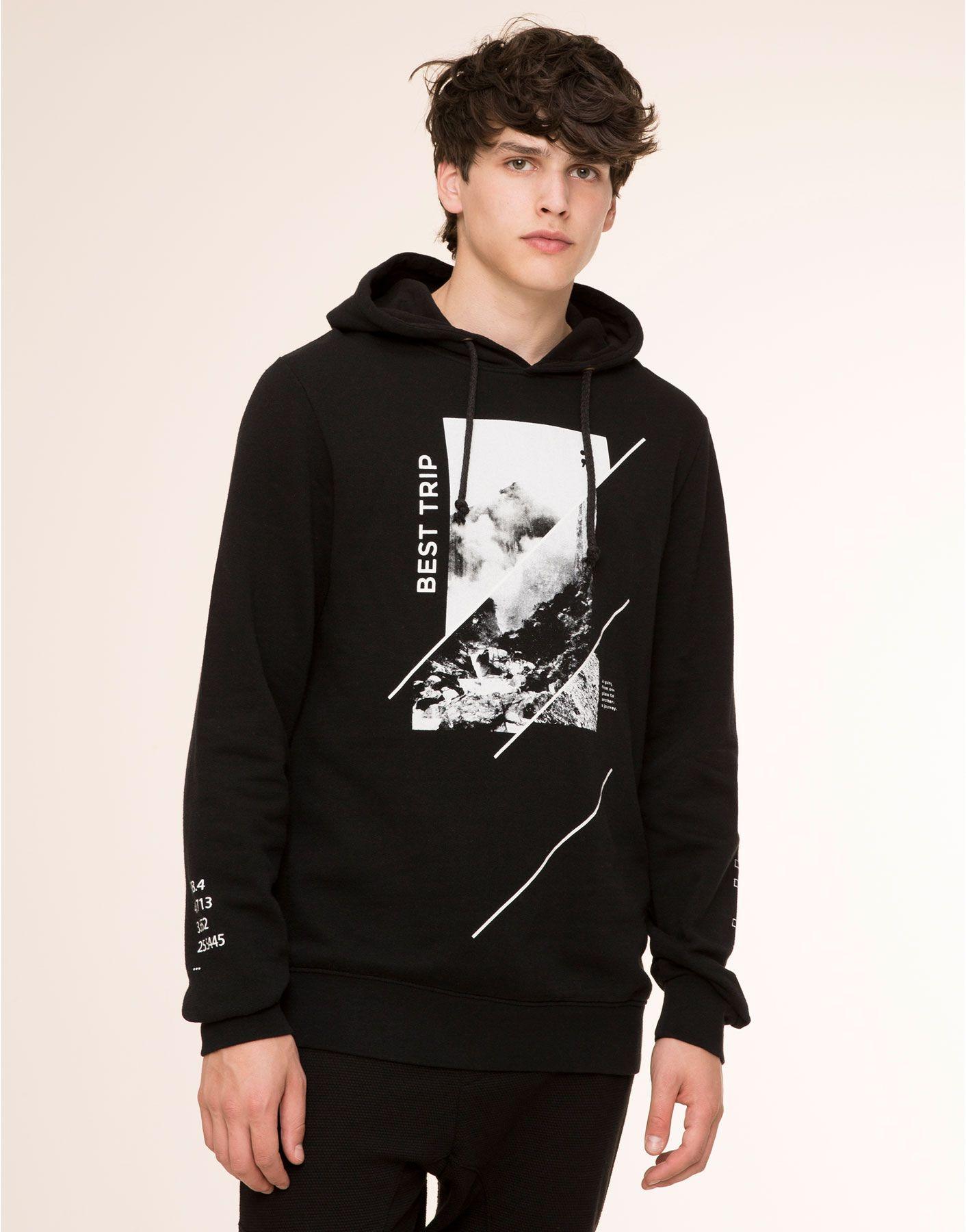 Printed hooded sweatshirt sweatshirts man pullubear indonesia