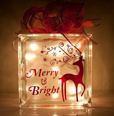 Christmas Glass Blocks with Lights - Bing images - Merry And Bright Christmas Reindeer Decal For YOUR Glass Block