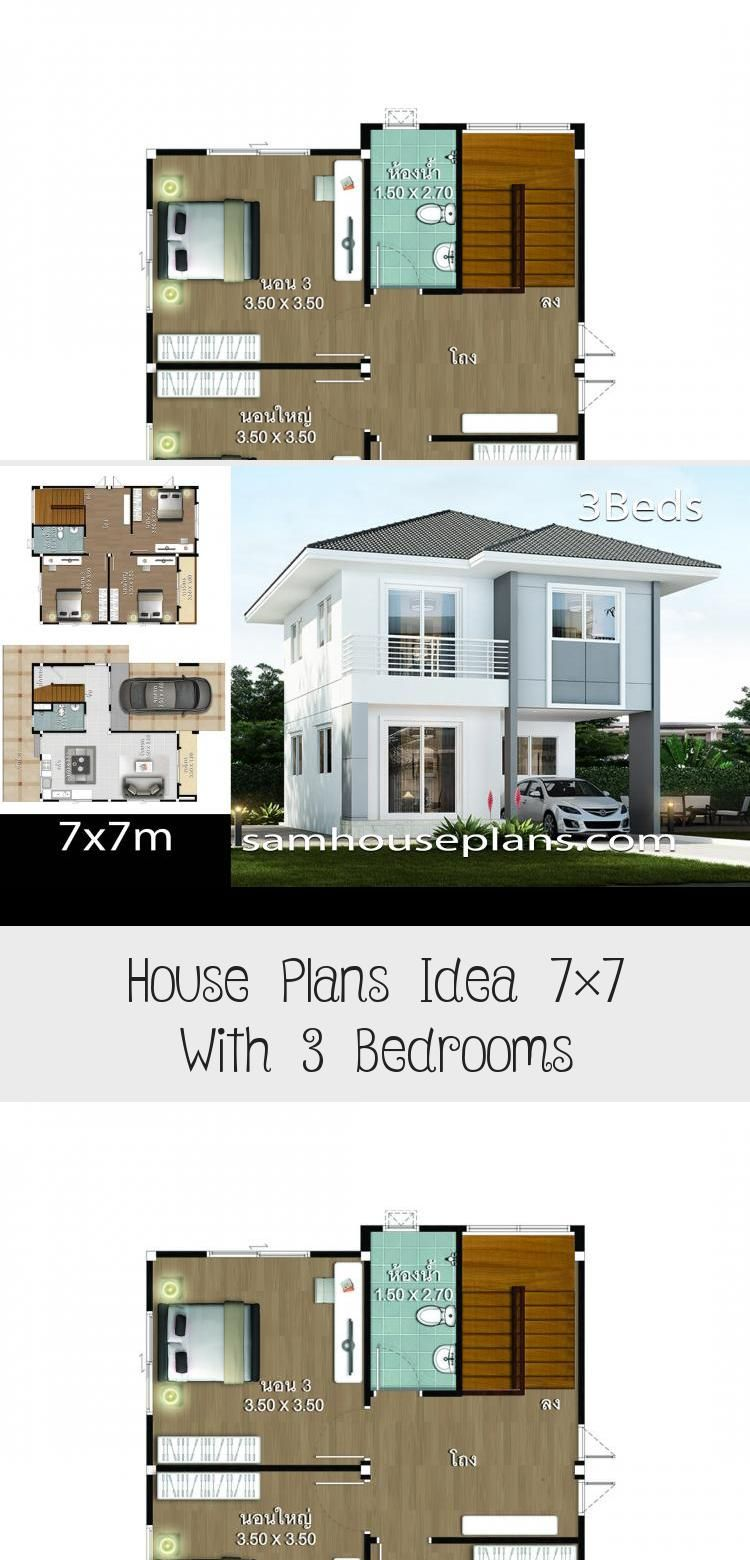 House Plans Idea 7 7 With 3 Bedrooms In 2020 House Plans House Styles House