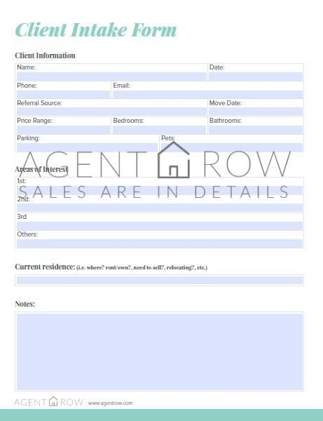Client Intake Form Real Estate Client Real Estate Tips Dfw