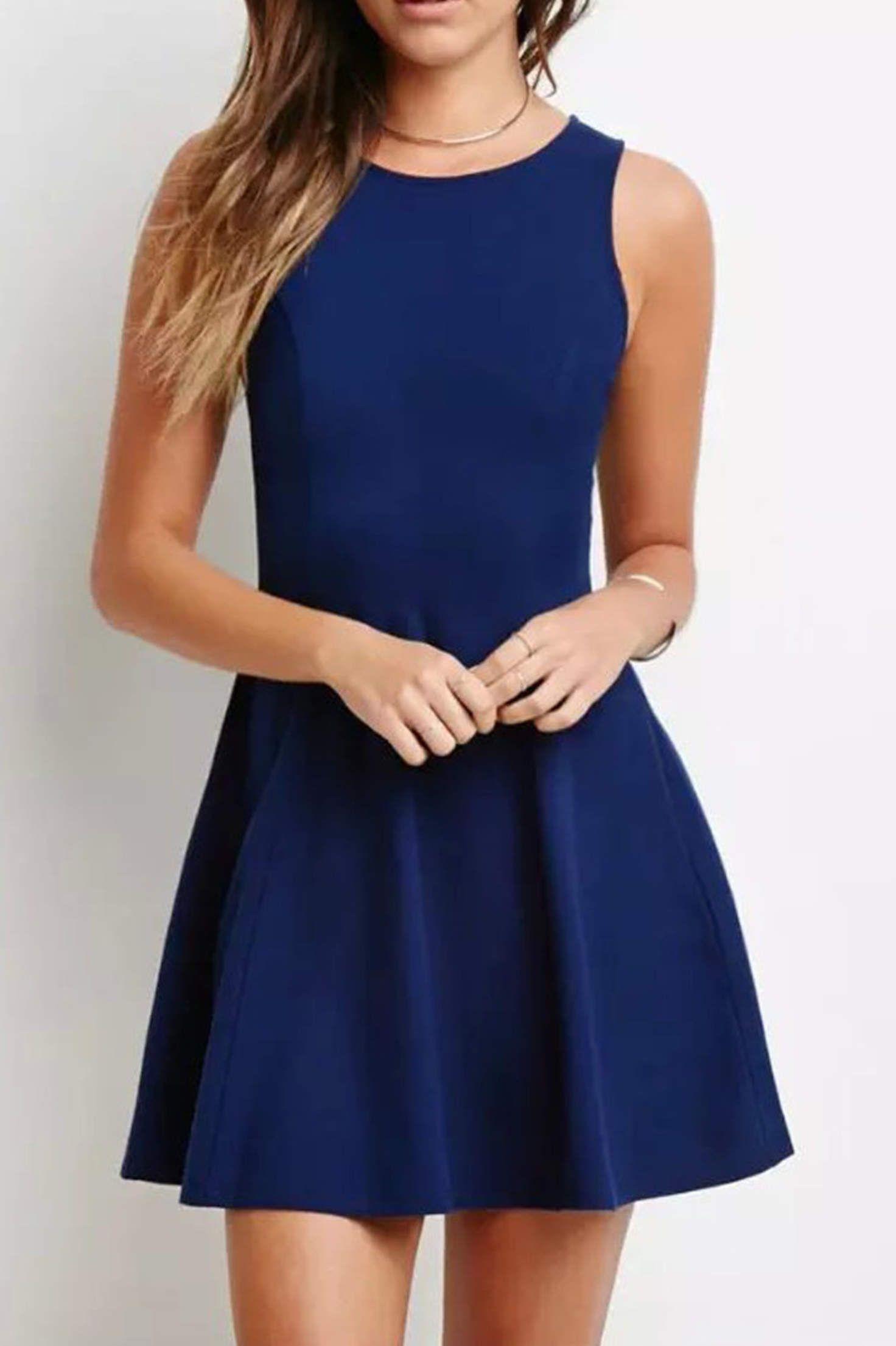 c2c4d42c30 Navy Blue Sleeveless Pleated Mini Dress