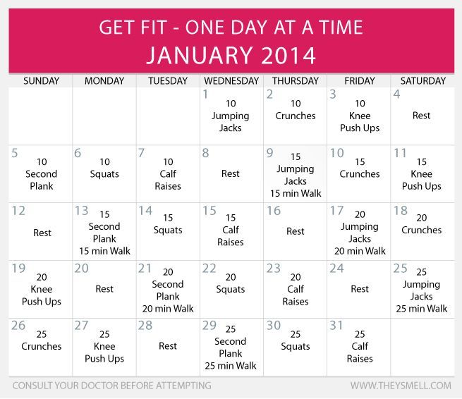 Daily Beginner Workout Plan for January Pinterest Workout plans