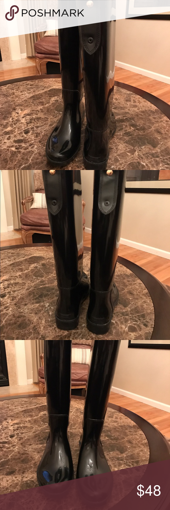 Coach Rain Boots Coach Rain Boots. Worn one. April Showers are coming, be ready. Coach Shoes Winter & Rain Boots