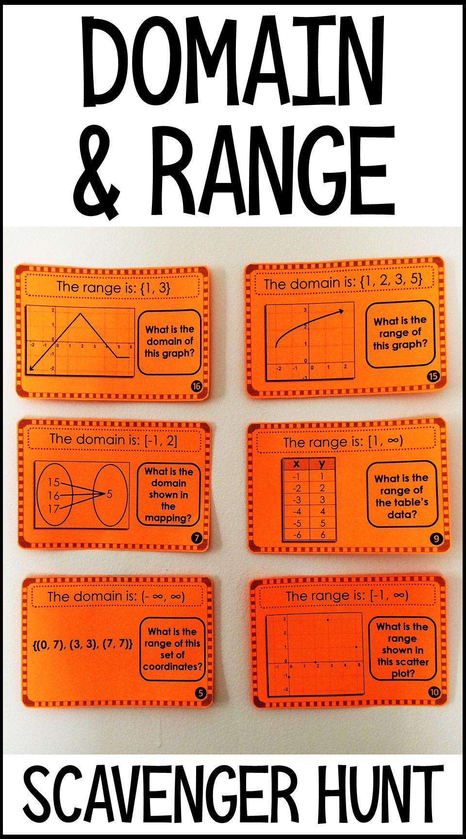 Domain And Range Scavenger Hunt Teaching Math Differentiation Math Teaching Algebra