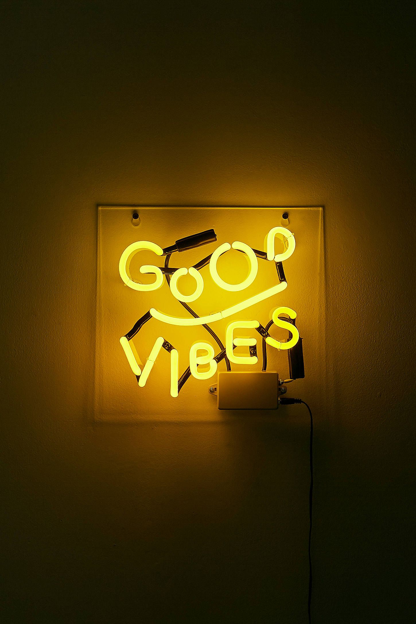 Good Vibes Neon Light Aesthetic Colors Yellow Wallpaper Yellow Aesthetic