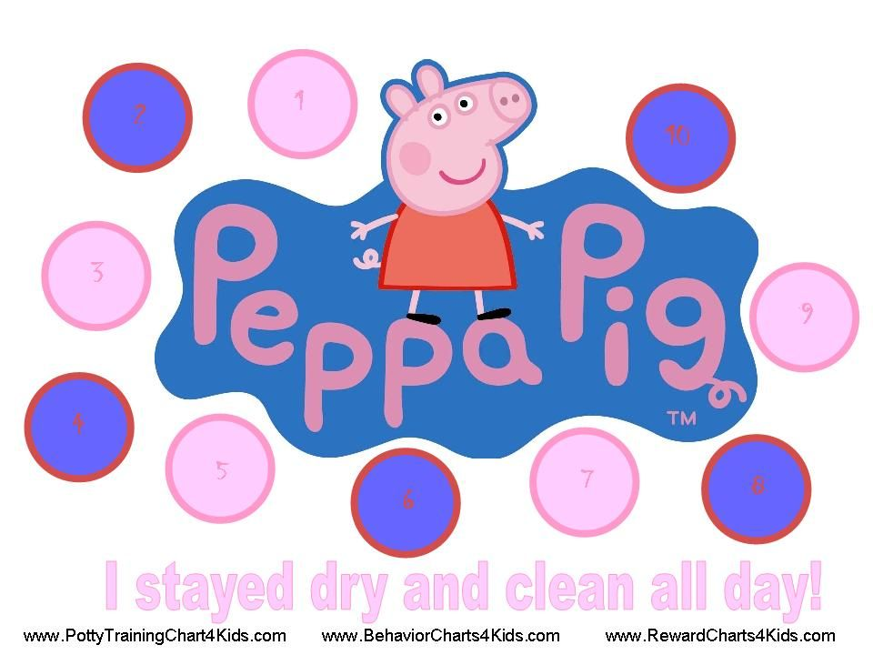 Peppa pig potty training chart toddlers potty training girls