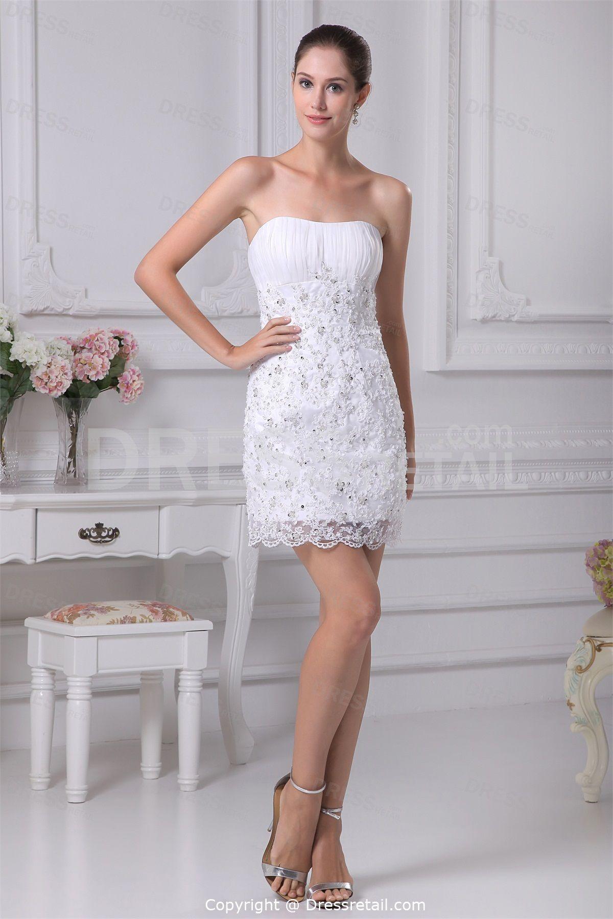 White Lace Short Sheath Column Natural Strapless Summer Wedding Dress