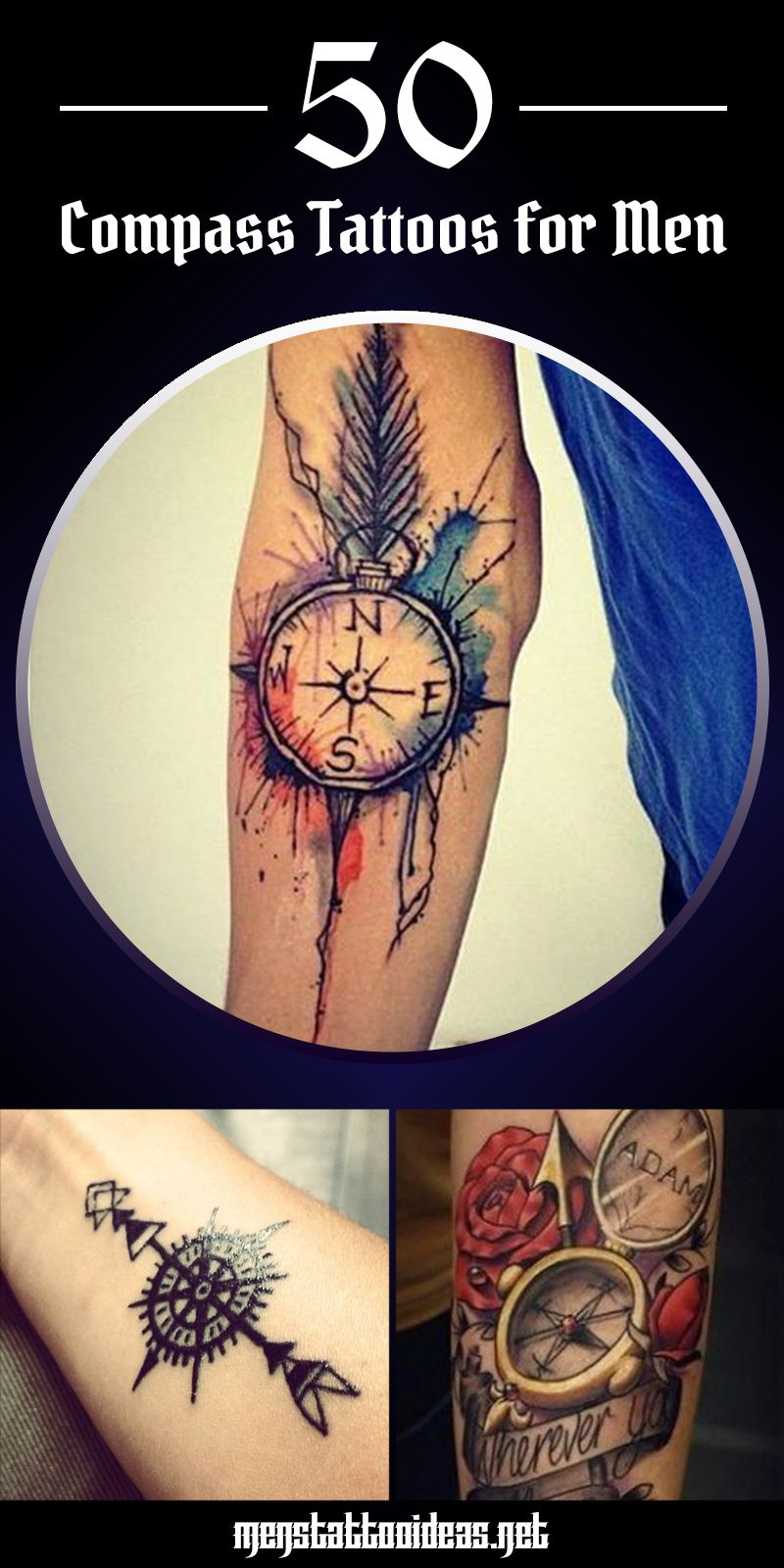 40 Watercolor Compass Tattoo Designs For Men – Cool Ideas forecast