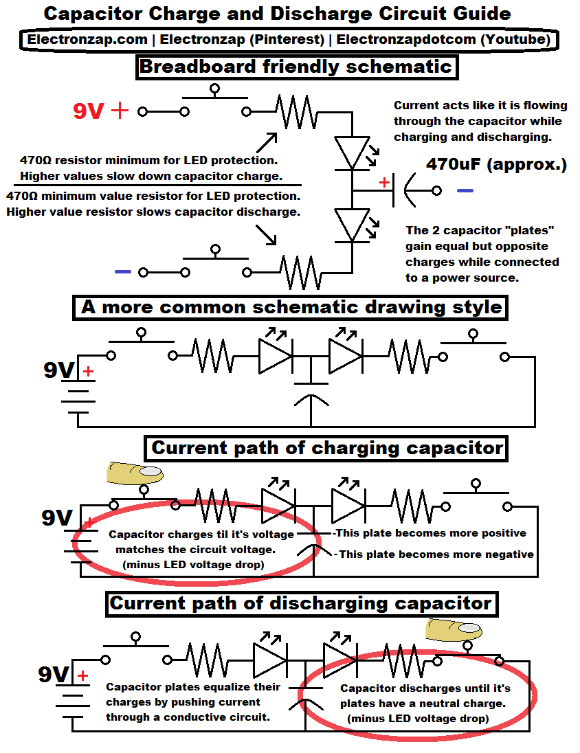 Diagram I Used In My Newest Video Showing Electronics Charge And Capacitor Circuit Discharge With Indicator Leds