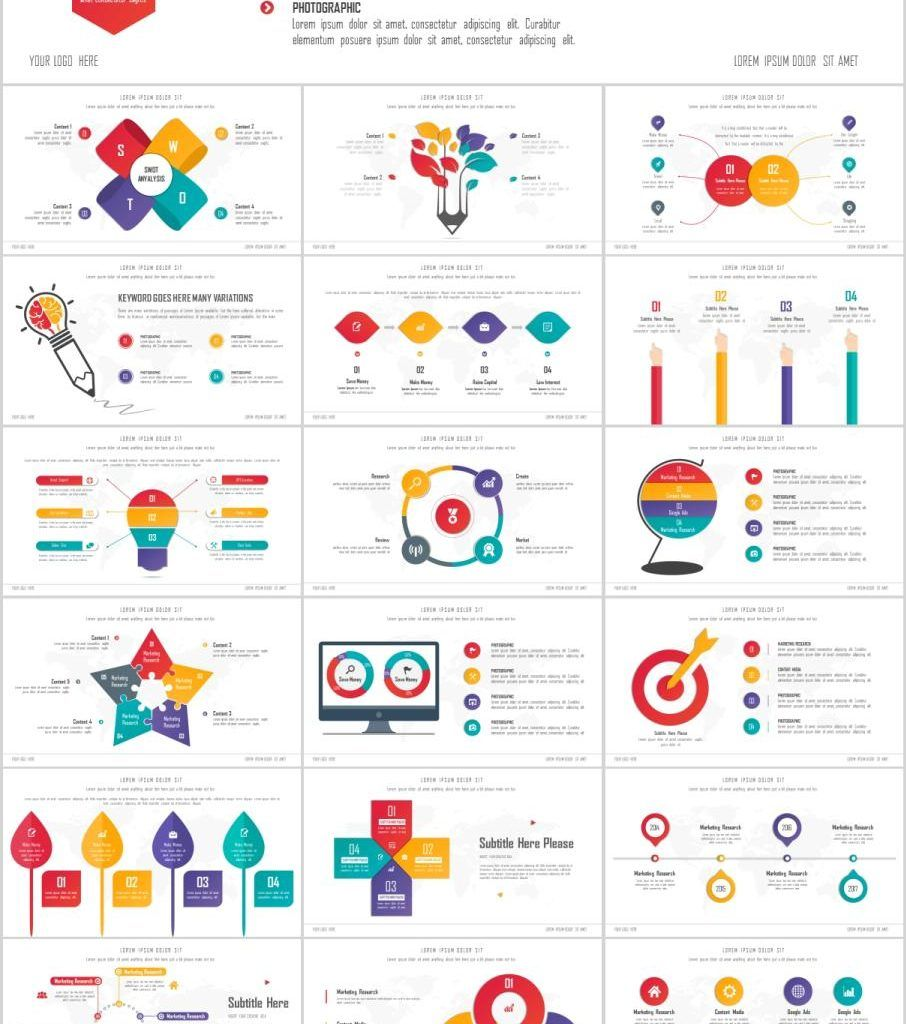 25 Infographics Charts Slides Powerpoint Templates Simple