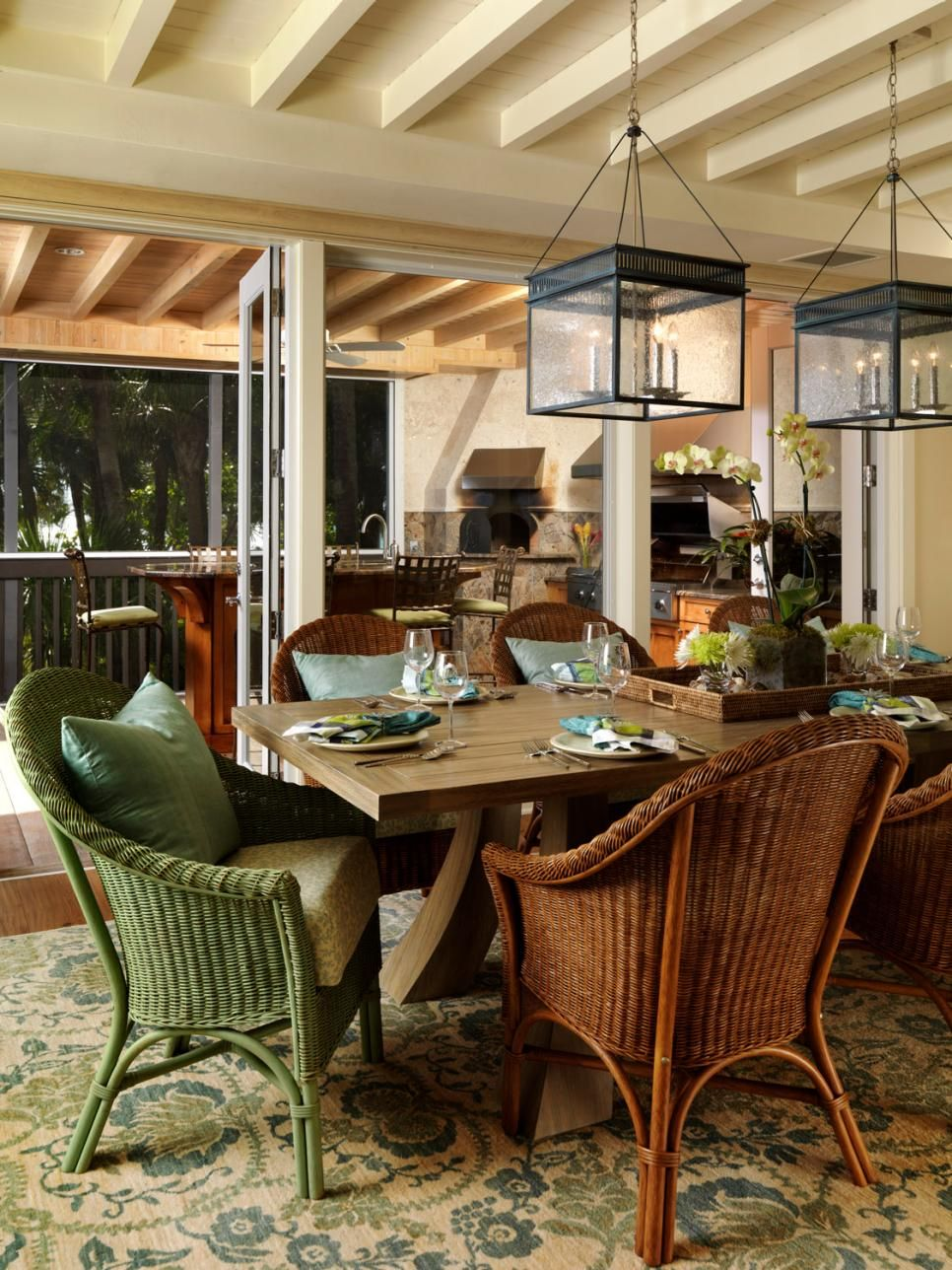 Wonderful Brown And Green Wicker Chairs Surround A Chunky Cottage Table For A Cozy, Comfortable  Dining