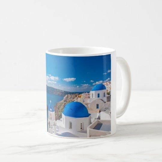 Scenic Blue Domes Of Santorini Coffee Mug Zazzle Com Mugs Coffee Mugs Custom Holiday Card